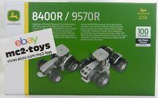 1:64 John Deere 100 YEARS 9570R 4WD & 8400R Duals SILVER TRACTOR SET by ERTL NIB