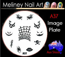 A37 Stamping Nail Art Image Plate Design Round XL Stencil metal Halloween