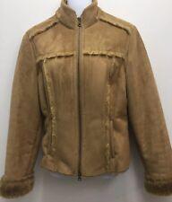 Calvin Klein Women's Brown Fur Suede Shawl Collar Jacket Bomber Large