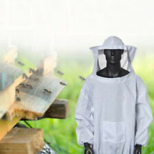 White Bee Hive Suit Beekeeper Protective Jacket Coat W/ Hood Equipment Parts