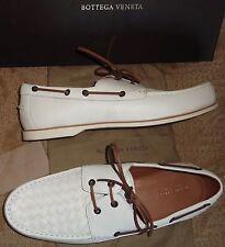 NEW NIB $790 BOTTEGA VENETA Mens intrecciato Lthr Deck Loafers SHOES 43 9 white