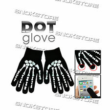 DOT GLOVES TOCH SCREEN GUANTI PER SMARTPHONE SAMSUNG iPHONE SKELETON FINGER NEW