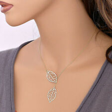 Womens Girls Simple Metal Double Leaf Pendant Alloy Choker Necklace SL