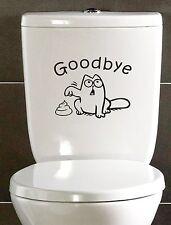 Simon's Cat Drôle Autocollant Décalque Pour Toilette Salle de Bain WC siège au revoir
