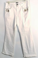 New York & Co. White Jeans Sz 14 Embroidered Gold Roses On Pockets Studs Flared