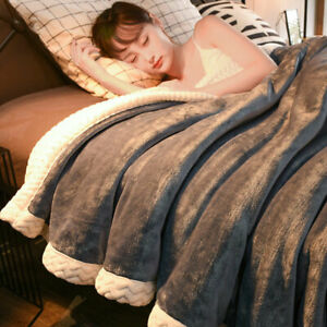 Blankets Warm Thickened Flannel Reversible Soft Queen King Size Cozy Bed Cover