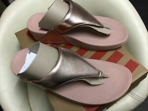 Gorgeous Pair Of Ladies Rose Gold Lulu Leather Fitflop Sandals Size 6 New