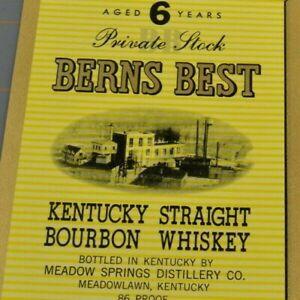 Berns Best Private Stock Kentucky Straight Bourbon Vintage Paper Label Ephemera