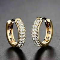 1.00 Ct Round Cut Diamond Huggie Hoop Earrings Solid 14K Yellow Gold Finish