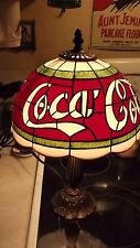 """Vtg 2002 Coca Cola Tiffany Style Lamp 10"""" Plastic Shade Imitation Stained Glass"""