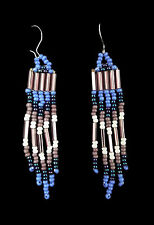 Earrings - Sioux Handmade Beaded Purple and Blue Fringe