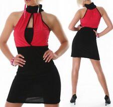SeXy Miss Trendy Damen Pencil Mini Kleid Stretch Dress schwarz pink 34/36/38 NEU