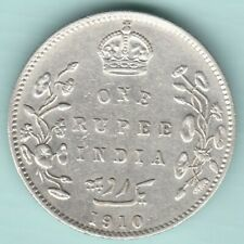 BRITISH INDIA 1910 KING EDWARD VII ONE RUPEE SILVER COIN NEAR ABOUT UNC