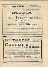 Stampa antica pubblicità GARIBALDI E I SUOI TEMPI e altro 1891 Old antique print