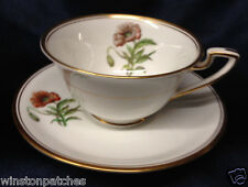 ROYAL WORCESTER WILLIAMSON FLOWER FOOTED CUP & SAUCER 8 OZ POPPY GOLD TRIM