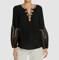 $794 Kobi Halperin Women Black Long-Sleeve V-Neck Casual Silk Blouse Top Size S