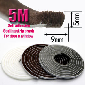 9x5mm Self Adhesive Sealing Brush Strip Door Window Frame DIY Protection Repair