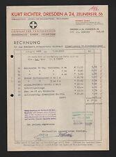 DRESDEN, Rechnung 1943, Kurt Richter Verbandstoffe Textilwaren