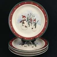 "Set of 4 Vintage Snack Plates 6.5"" by Royal Seasons Stoneware SNOWMEN RN2"