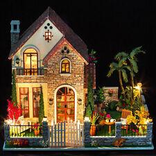 Kit Wood Dollhouse Miniature DIY LED House w/Music Large Villa Gift Love Castle