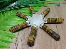 7 Chakra Tiger Eye Pyramid Energy Generator with seven crystal points