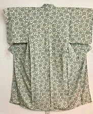 Vintage White Color Kimono  Decorated with Flowers  #1271