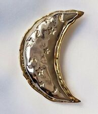 Brooch ~ Crescent Moon Design ~ Silver & Gold Tone ~ Lovely