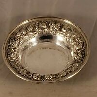 VINTAGE STIEFF STERLING SILVER FLORAL REPOUSSE BOWL 53-U
