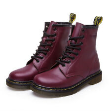 Fashion Womens Leather Boots Martin Smooth Ankle Leisure Lace Up Military Combat