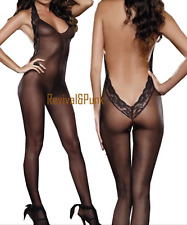 Sexy Lace Lingerie Body stocking Sheer Halter Babydoll Sex Play Bodies Size 6-12