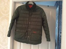 boys khaki green barbour jacket with tweed collar worn once size m