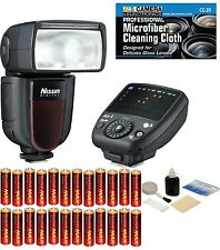 Nissin Di700A Flash w/Air 1 Commander f/ Sony + 24 AA Batteries + Cleaning Kit