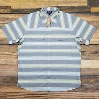 Patagonia Men's XL Bandito Shirt Vented Snap Short Sleeve Stone Blue NWT