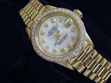 Ladies Rolex 18K желтое золото Datejust президента с белой швабра бриллиантовый циферблат и безель