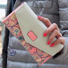 Women Leather Wallet Envelope Purse Card Holder Mobile Bag long zip Handbag
