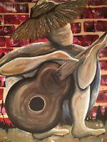 Man and Guitar abstract art  by artist Karen Terry