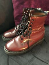 Dr Martens Leather Boots Red Burgundy Size 4