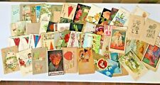 77 Holiday & Greeting Postcards Valentines Thanksgiving Christmas Early 1900s