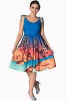 Banned 50's Blue Tropical Strappy Retro Vintage Swing Women Rockabilly Dress UK