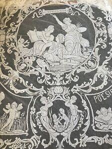CIRCA 1889,RARE PARIS EXPOSITION,WORLD'S FAIR  FILET LACE CLOTH,FIGURALS,ARTS