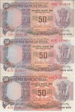 India Banknote P84c-d-e 50 Rupees Sig 85 No inset-A-B, Lot of 3, Nice Circulated