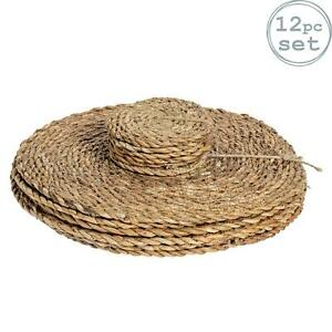 Round Straw Placemats & Coasters Dinner Water Hyacinth Weave - Typha - x12