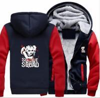 Winter Thicken Hoodie Suicide Squad Harley Quinn Sweatshirt Coat Fleece Jacket