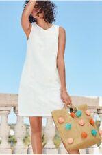 NEXT White Crochet Linen Shift Tunic Summer Sun Holiday Dress 10 BNWT