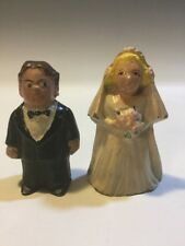 Bride Groom Wedding Marriage Salt Pepper Shaker Set Cast Metal