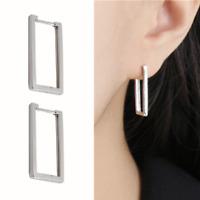 Solid 925 Sterling Silver Simple Long Line Square Huggie Hoop Drop Earrings
