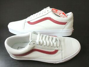 Vans Mens Old Skool Leather Pop Skate shoes True White Chili Pepper Size 10 NWT