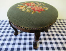 Vintage Round Foot Stool Wood Frame Neeedlepoint Floral Forest Green Arched Feet