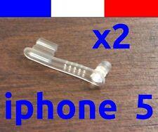 x2 cache anti-poussière TRANSPARENT lightning capuchon bouchon -> iphone 5 5C 5S