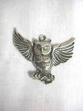 NEW OWL TAKING FLIGHT OPEN WINGS USA CAST PEWTER PENDANT ON ADJ CORD NECKLACE